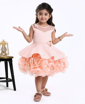 Babyhug Sleeveless Party Wear Frock Floral Applique - Peach