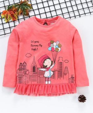 Babyhug Full Sleeves Tee Girls Graphic Print - Pink