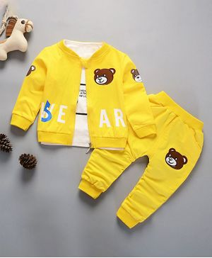 Pre Order - Awabox Letter Printed Tee With Full Sleeves Bear Patch Work Jacket & Pants Set - Yellow
