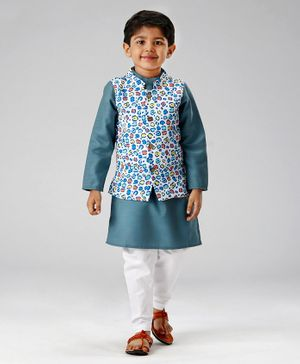 Babyoye Solid Colour Kurta & Pajama With Printed Jacket - Teal