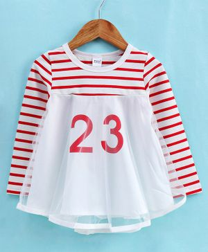 Meng Wa Full Sleeves Frock Striped - Red White