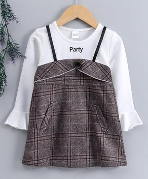 Meng Wa Full Sleeves Checked Frock - Grey White