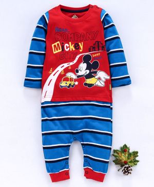 Bodycare Full Sleeves Romper Striped Mickey Print - Red Blue