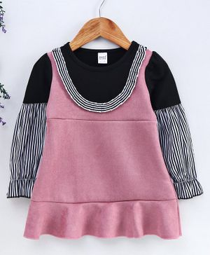 Meng Wa Full Sleeves Striped Frock - Pink