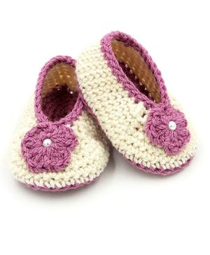 Magic Needles Hand Knitted Flower Design Booties - Beige