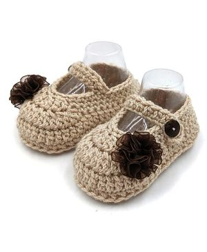 Magic Needles Flower Detailed Button Closure Crochet Booties - Beige