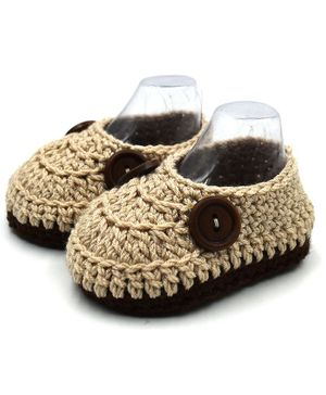 Magic Needles Button Detailed Handmade Knitted Booties - Beige