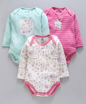 I Bears Full Sleeves Onesies Pack of 3 - Blue Pink & White