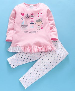 First Smile Full Sleeves Night Suit Voyage Print - Pink