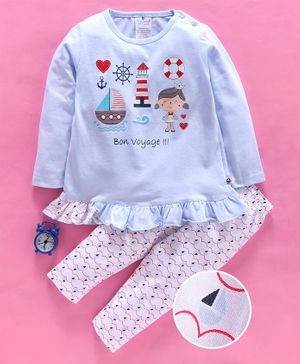 First Smile Full Sleeves Night Suit Voyage Print - Blue