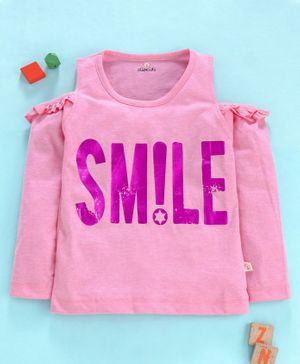 Olio Kids Full Sleeves Cold Shoulder Top Smile Print - Pink