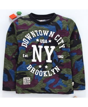Olio Kids Full Sleeves Camouflage T-Shirts NY USA Print - Green