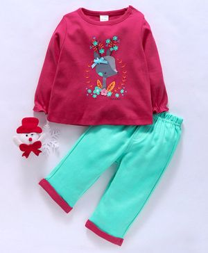 Olio Kids Full Sleeves Tee & Lounge Pants Set Floral Print - Dark Pink Green