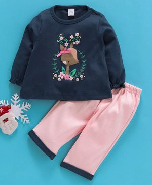 Olio Kids Full Sleeves Tee & Lounge Pants Set Floral Print - Blue Pink