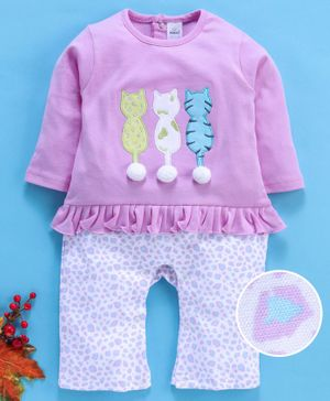 Olio Kids Full Sleeves Tee & Lounge Pants Set Kitties Print - Lavender White