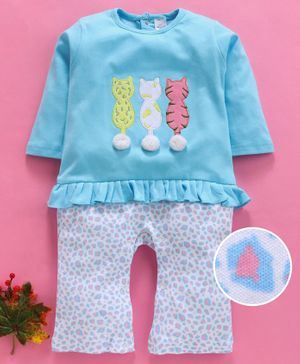 Olio Kids Full Sleeves Tee & Lounge Pants Set Kitties Print - Blue White