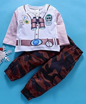 Olio Kids Full Sleeves Tee & Lounge Pants Set Binoculars Print - White Maroon