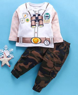 Olio Kids Full Sleeves Tee & Lounge Pants Set Binoculars Print - White Green