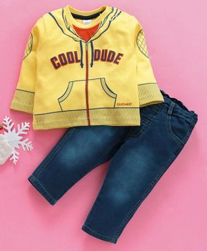 Olio Kids Full Sleeves T-shirts & Jeans Set Cool Dude Print - Yellow