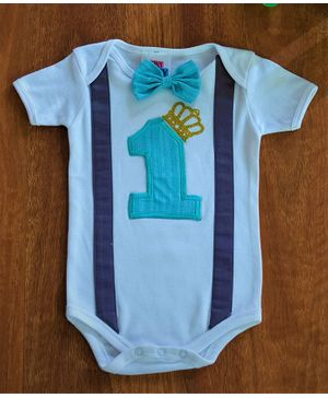Tiny Miny Mee One Patch Half Sleeves Onsie - White & Blue