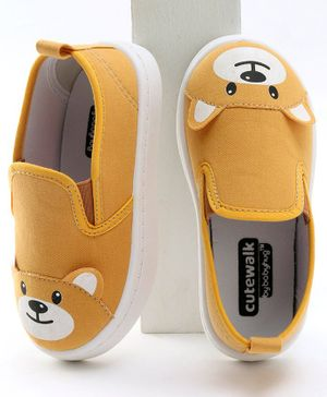 Cute Walk by Babyhug Canvas Shoes Bear Design - Yellow