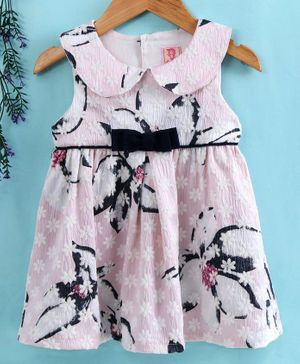 Sunny Baby Sleeveless Frock Floral Print - Light Pink Black