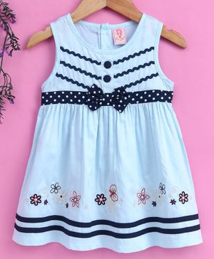 Sunny Baby Sleeveless Frock Floral Embroidery - Blue