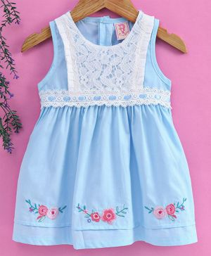 Sunny Baby Sleeveless Frock Floral Embroidered - Blue