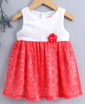 Sunny Baby Sleeveless Frock Floral Applique - Red White