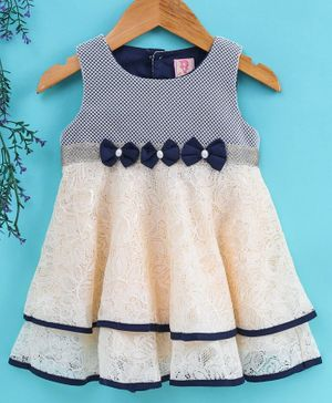 Sunny Baby Sleeveless Frock Bow Applique - Cream