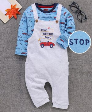 Babyhug Dungaree With Full Sleeves Inner Tee Cars Print - White Blue