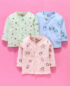 Pink Rabbit Full Sleeves Vests Pack of 3 - Blue Green Peach