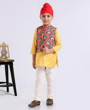 Exclusive From Jaipur Full Sleeves Kurta And Pyjama With Jacket Floral Print - Yellow White