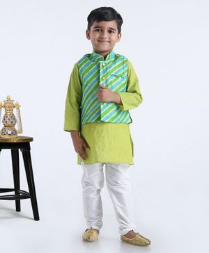 Exclusive From Jaipur Full Sleeves Kurta And Pyjama With Striped Jacket - Green