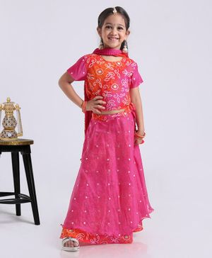 Exclusive From Jaipur Half Sleeves Choli And Lehenga With Dupatta - Orange Pink