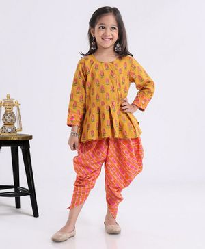 Exclusive From Jaipur Full Sleeves Short Kurti And Dhoti Salwaar - Musturd Yellow Orange