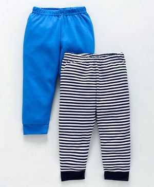 Babyoye Cotton Lounge Pant Striped & Solid Pack of 2 - Blue