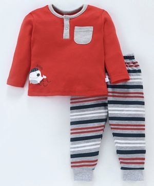 Babyoye Full Sleeves Cotton Henly Top & Striped Lounge Pant Fish Print - Red