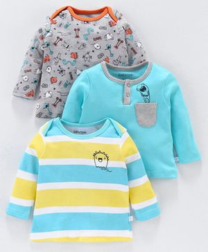 Babyoye Full Sleeves Cotton T-Shirts Monster Print - Blue Grey