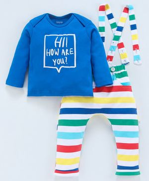 Babyoye Cotton Tee & Pant With Suspender Text Print - Multicolor