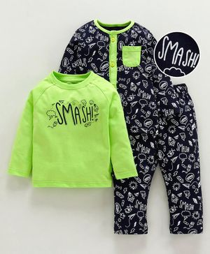 Babyoye Cotton Full Sleeves 3 Piece Combo Nightwear Set Multi Print - Green Black