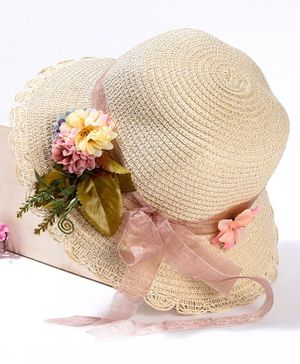 Babyhug Hat Floral Embellishment - Cream