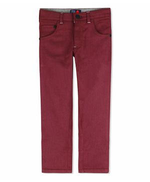 Cherry Crumble California Solid Full Length Front Pocket Pants - Maroon