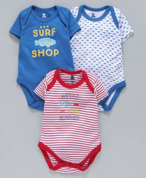 I Bears Half Sleeves Onesies Fish Print Pack of 3 - Blue White Red