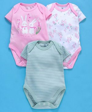 I Bears Half Sleeves Onesies Bunny Print Pack of 3 - Pink Green White