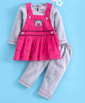 U R Cute Full Sleeves Tee With Bear Patch Dress & Leggings - Pink