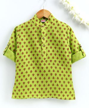 Babyhug Full Sleeves Short Kurta Leaf Print - Green
