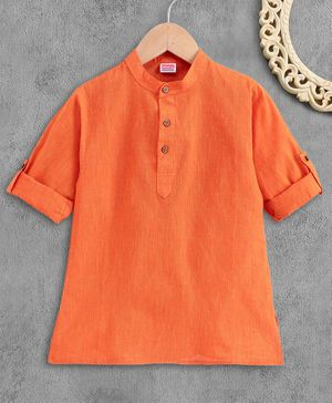 Babyhug Full Sleeves Short Kurta - Orange