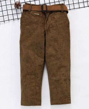 Noddy Solid Full Length Pants With Belt - Brown