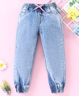 Babyhug Full Length Solid Dyed Jeans - Light Blue